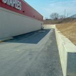 A finished asphalt commercial parking lot at Staples